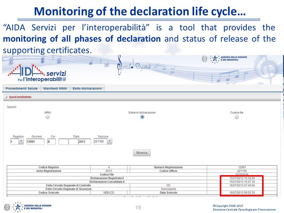 """© Copyright 2008-2014 Direzione Centrale Tecnologie per l'Innovazione 19 Monitoring of the declaration life cycle… """"AIDA Servizi per l'interoperabilit"""