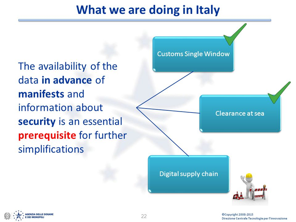 © Copyright 2008-2014 Direzione Centrale Tecnologie per l'Innovazione 22 Customs Single Window Clearance at seaDigital supply chain The availability o