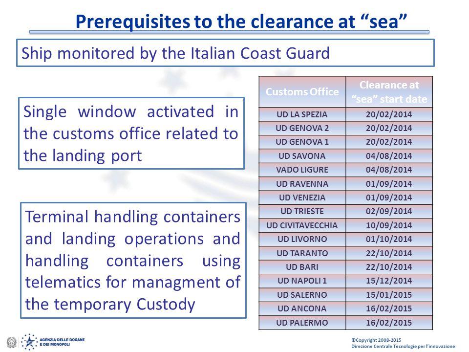 """© Copyright 2008-2014 Direzione Centrale Tecnologie per l'Innovazione Prerequisites to the clearance at """"sea"""" Ship monitored by the Italian Coast Guar"""