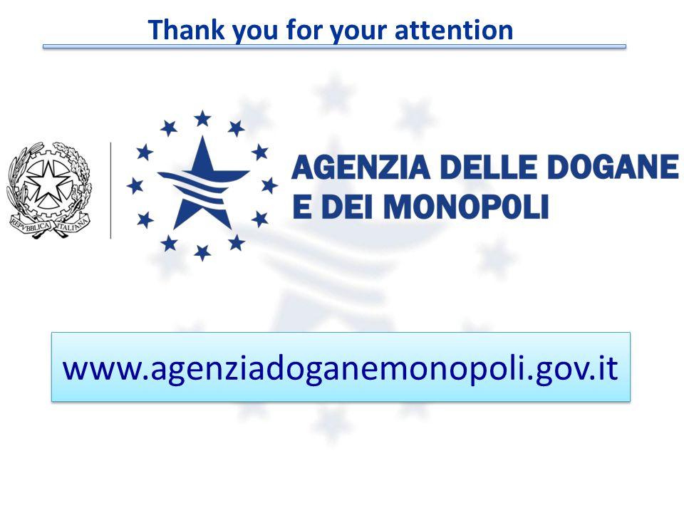 © Copyright 2008-2014 Direzione Centrale Tecnologie per l'Innovazione www.agenziadoganemonopoli.gov.it Thank you for your attention