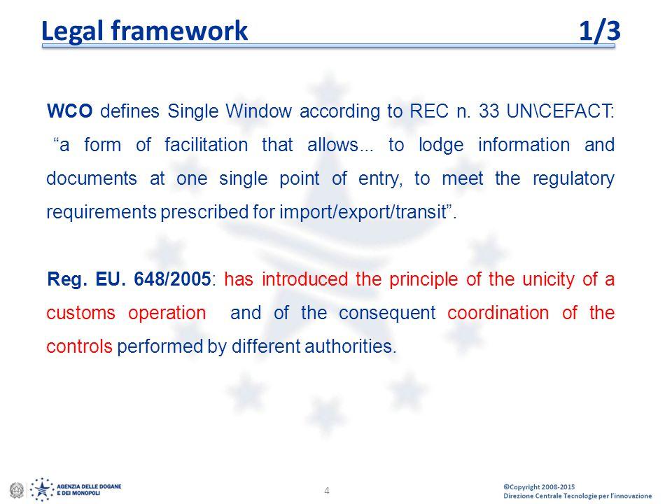 "© Copyright 2008-2014 Direzione Centrale Tecnologie per l'Innovazione Legal framework1/3 WCO defines Single Window according to REC n. 33 UN\CEFACT: """