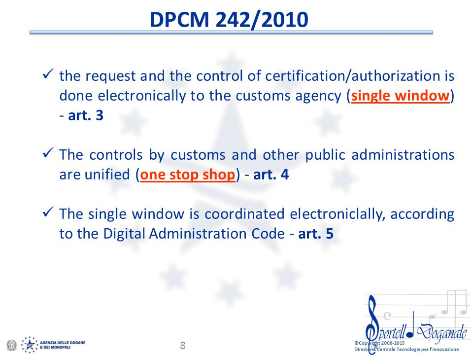 © Copyright 2008-2014 Direzione Centrale Tecnologie per l'Innovazione 19 Monitoring of the declaration life cycle… AIDA Servizi per l'interoperabilità is a tool that provides the monitoring of all phases of declaration and status of release of the supporting certificates.