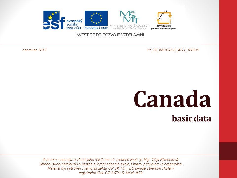 Canada basic data Autorem materiálu a všech jeho částí, není-li uvedeno jinak, je Mgr.