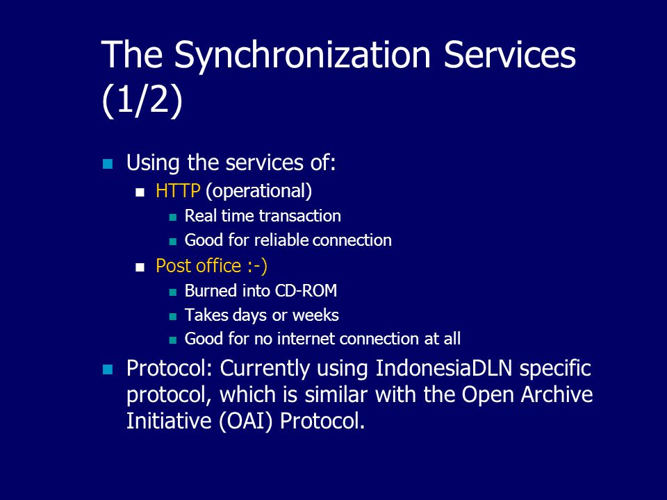 21 The Synchronization Protocol Items to be synchronized: Metadata Files (optional) Publisher information Membership information