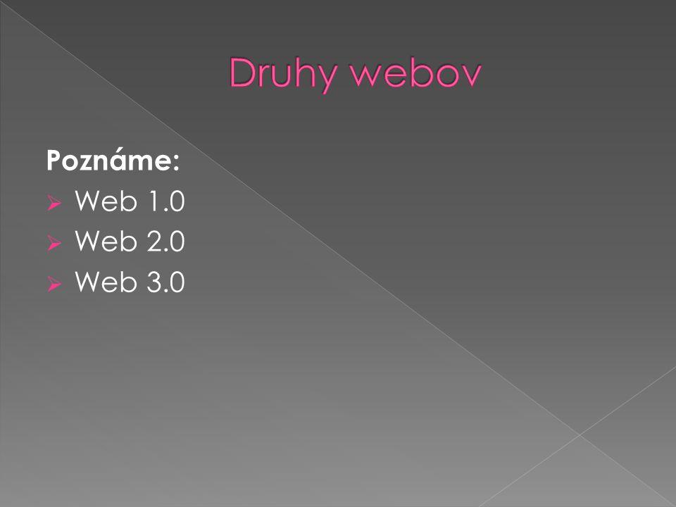 Poznáme:  Web 1.0  Web 2.0  Web 3.0
