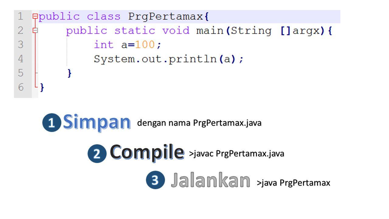 dengan nama PrgPertamax.java >javac PrgPertamax.java >java PrgPertamax