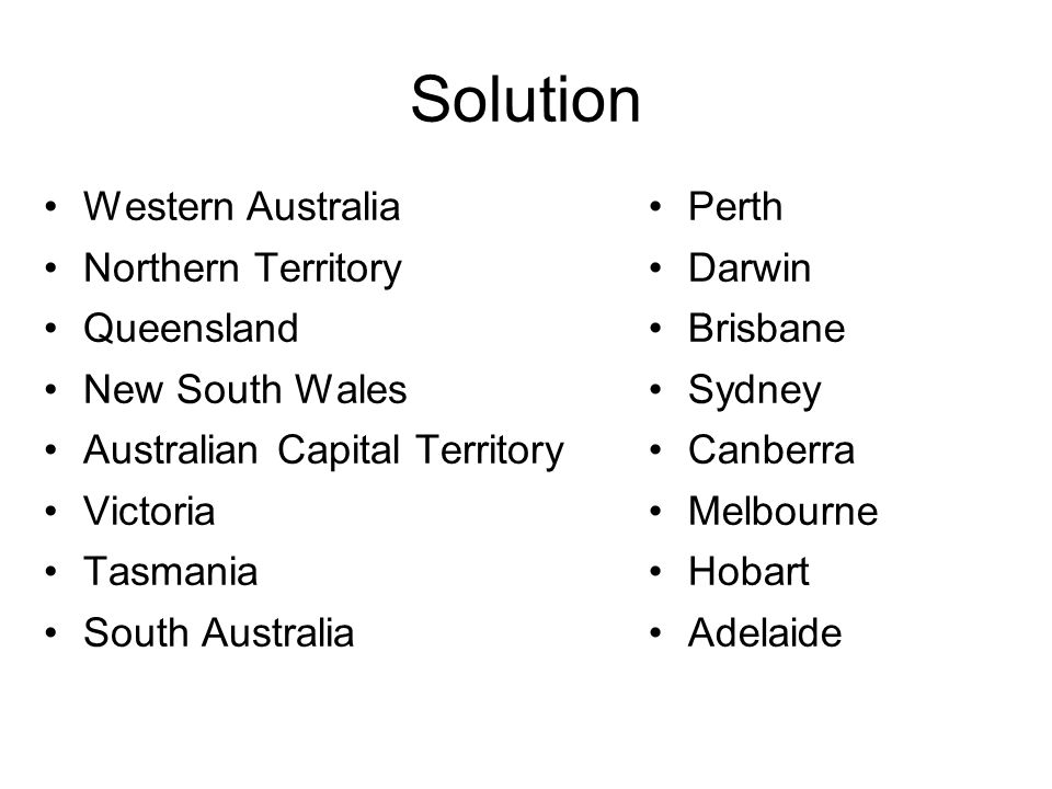 Solution Western Australia Northern Territory Queensland New South Wales Australian Capital Territory Victoria Tasmania South Australia Perth Darwin Brisbane Sydney Canberra Melbourne Hobart Adelaide