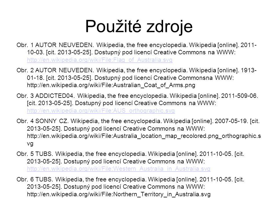 Použité zdroje Obr. 1 AUTOR NEUVEDEN. Wikipedia, the free encyclopedia.