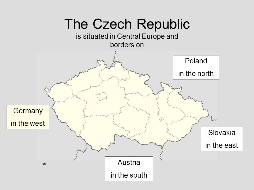 The Czech Republic is situated in Central Europe and borders on obr.