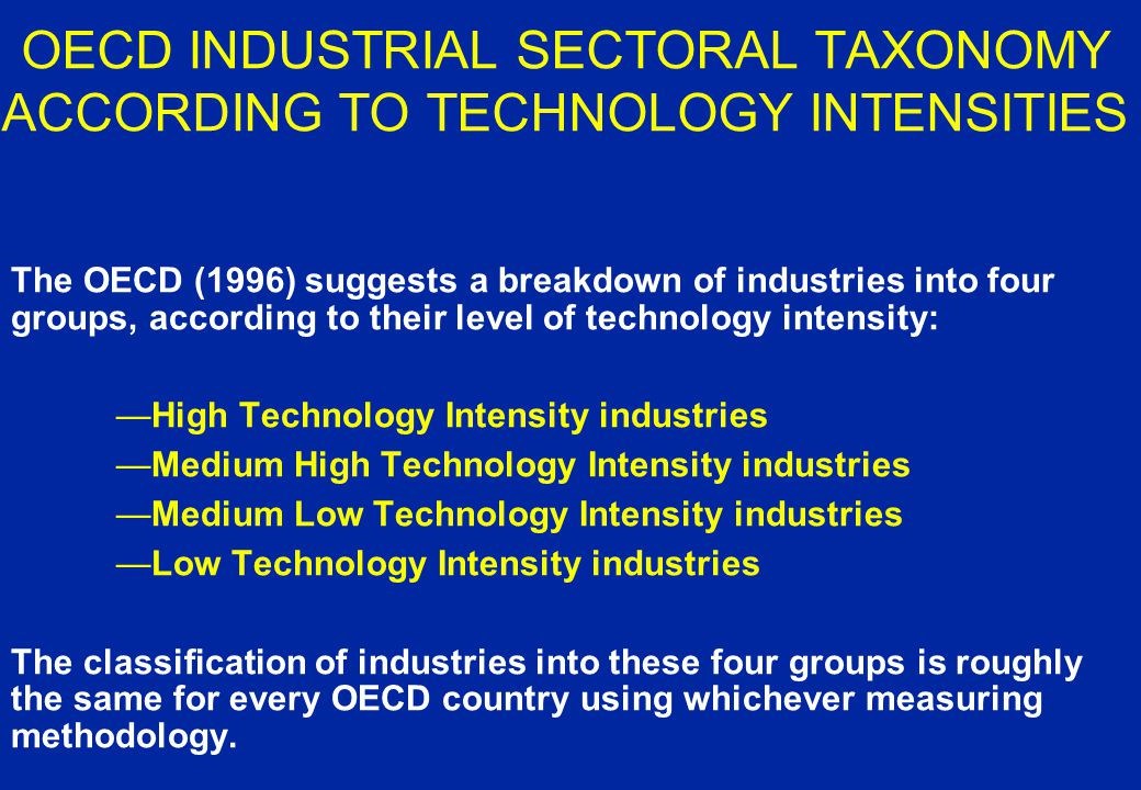 TECHNOLOGY INTENSITY of INDUSTRIES method 2: Considering second-round gains –the R&D embodied in the output of an industry includes the R&D effort realized by that industry but also the R&D embodied in the intermediate goods it acquires from other industries method 3: Taking into account the cumulative nature of R&D –The technology intensity of an industry after several years is the sum of the technology intensity of that industry for the all the years considered