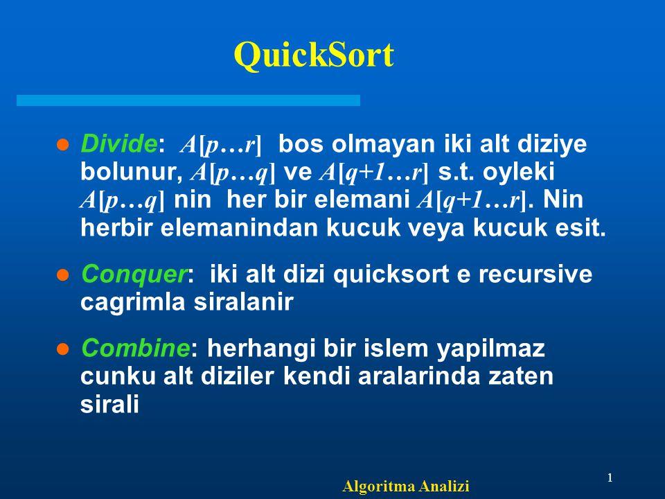 Algoritma Analizi 1 QuickSort Divide: A[p…r] bos olmayan iki alt diziye bolunur, A[p…q] ve A[q+1…r] s.t.