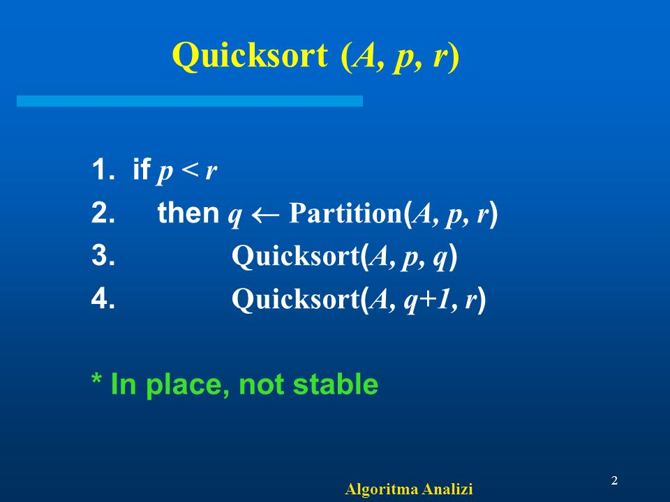 Algoritma Analizi 2 Quicksort (A, p, r) 1. if p < r 2.