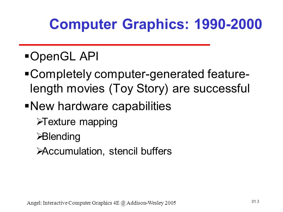 01.4 Angel: Interactive Computer Graphics 4E @ Addison-Wesley 2005 Computer Graphics: 2000-  Photorealism  Graphics cards for PCs dominate market  Nvidia, ATI, 3DLabs  Game boxes and game players determine direction of market  Computer graphics routine in movie industry: Maya, Lightwave  Programmable pipelines