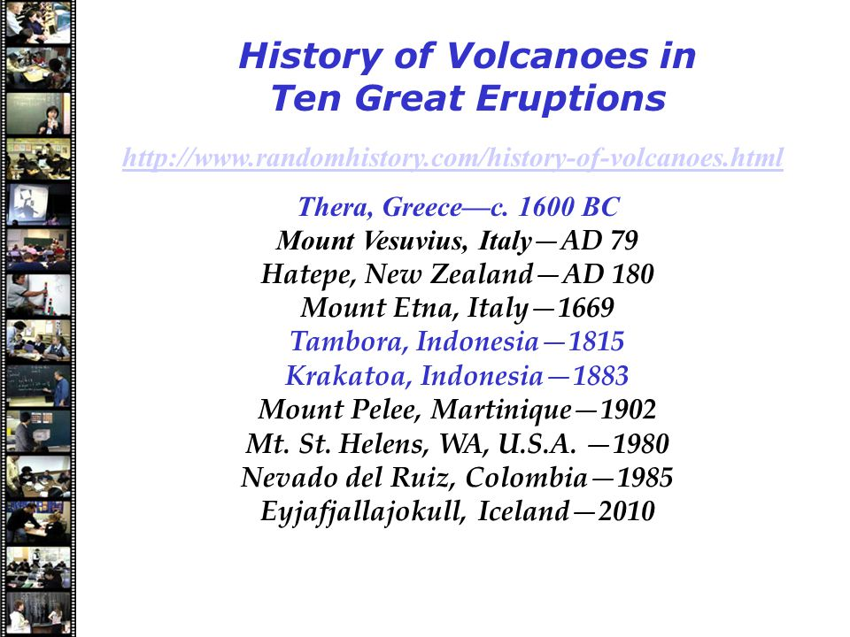Speakers History of Volcanoes in Ten Great Eruptions http://www.randomhistory.com/history-of-volcanoes.html Thera, Greece—c.