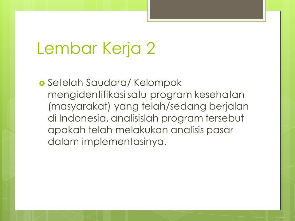 Lembar Kerja 2  Setelah Saudara/ Kelompok mengidentifikasi satu program kesehatan (masyarakat) yang telah/sedang berjalan di Indonesia, analisislah program tersebut apakah telah melakukan analisis pasar dalam implementasinya.