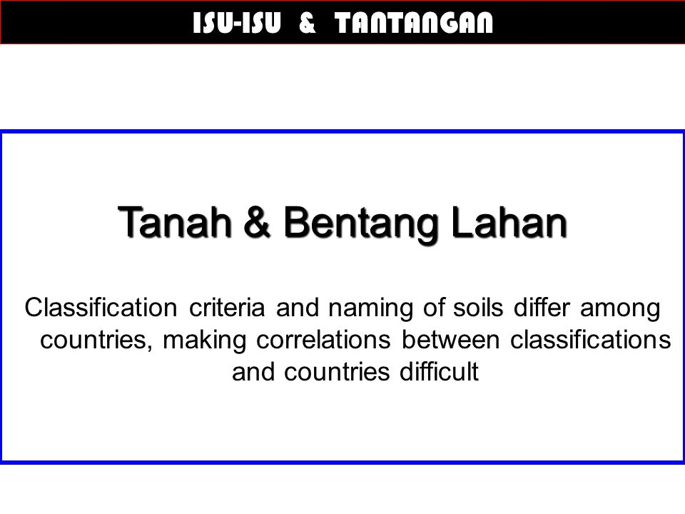 Tanah & Bentang Lahan Classification criteria and naming of soils differ among countries, making correlations between classifications and countries di