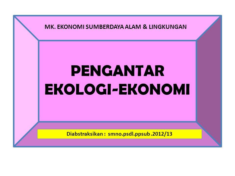LINGKUNGAN sbg 'SUBSET' dari EKONOMI EKONOMI EKOSISTEM Sumber: Introduction to Ecological Economics.