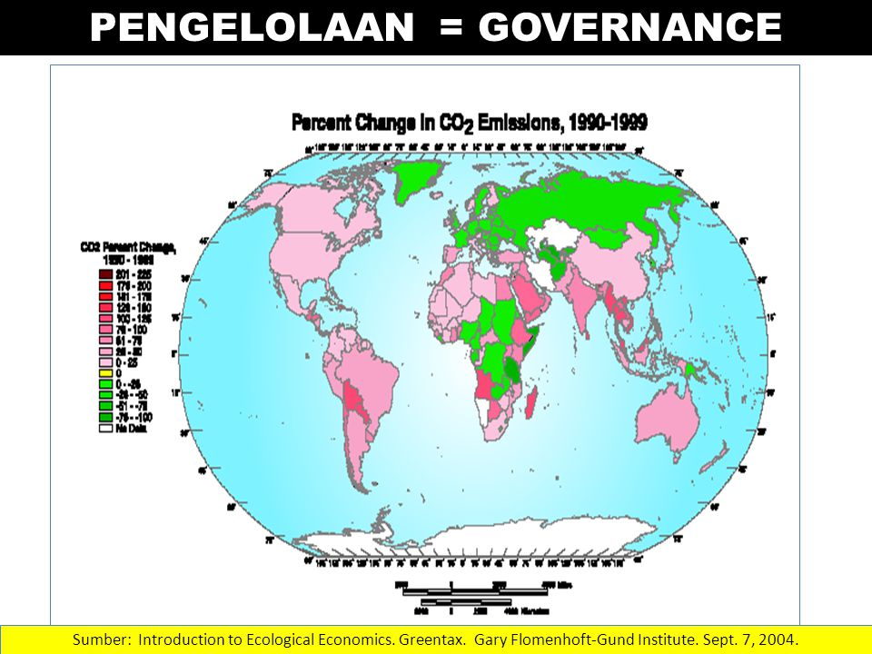 PENGELOLAAN = GOVERNANCE Sumber: Introduction to Ecological Economics. Greentax. Gary Flomenhoft-Gund Institute. Sept. 7, 2004.