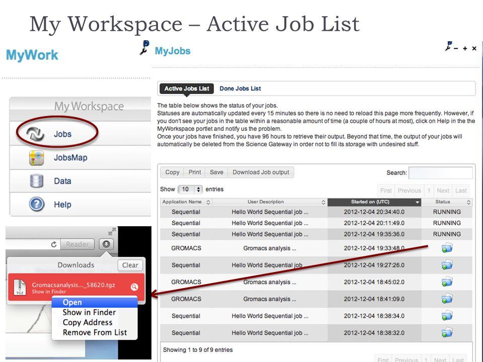 My Workspace – Active Job List October 8th, 2013Riccardo Rotondo15