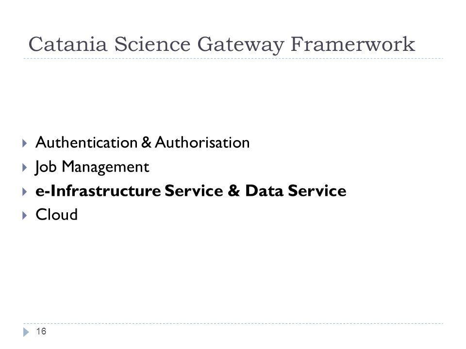 Catania Science Gateway Framerwork  Authentication & Authorisation  Job Management  e-Infrastructure Service & Data Service  Cloud 16
