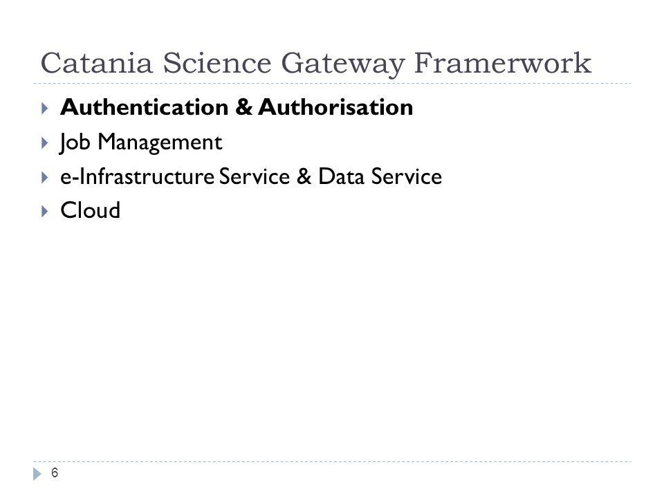 Catania Science Gateway Framerwork 6  Authentication & Authorisation  Job Management  e-Infrastructure Service & Data Service  Cloud