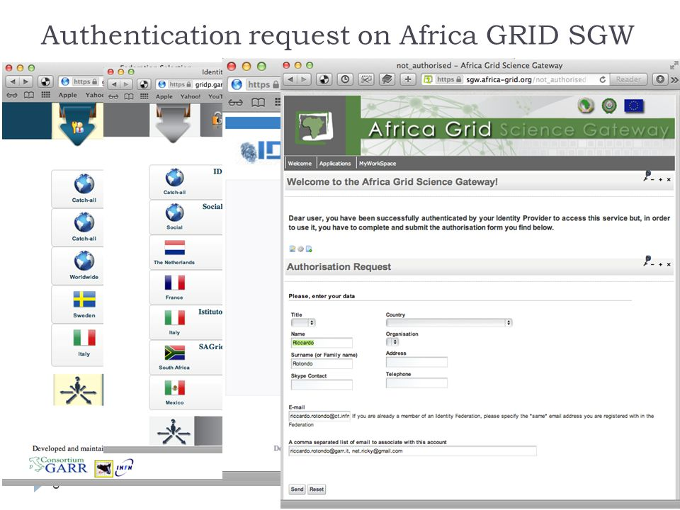 Authentication request on Africa GRID SGW 8