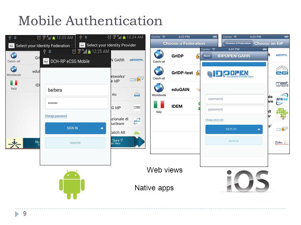 Mobile Authentication 9 Native apps Web views VAMP Workshop 2013 – Helsinki, 30/9-1/10/2013
