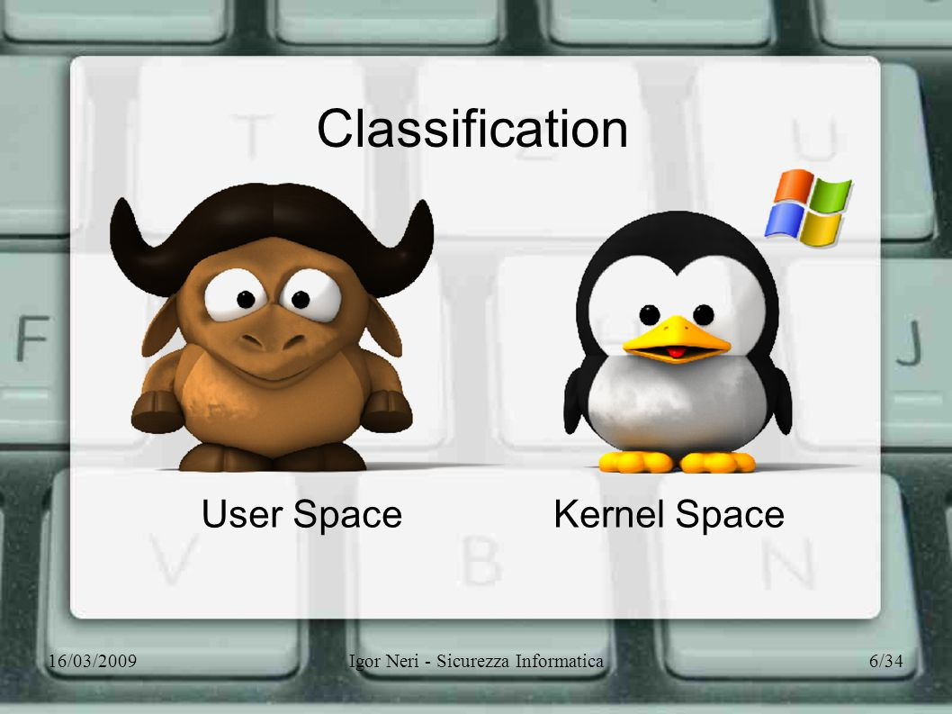 16/03/2009Igor Neri - Sicurezza Informatica6/34 Classification User SpaceKernel Space