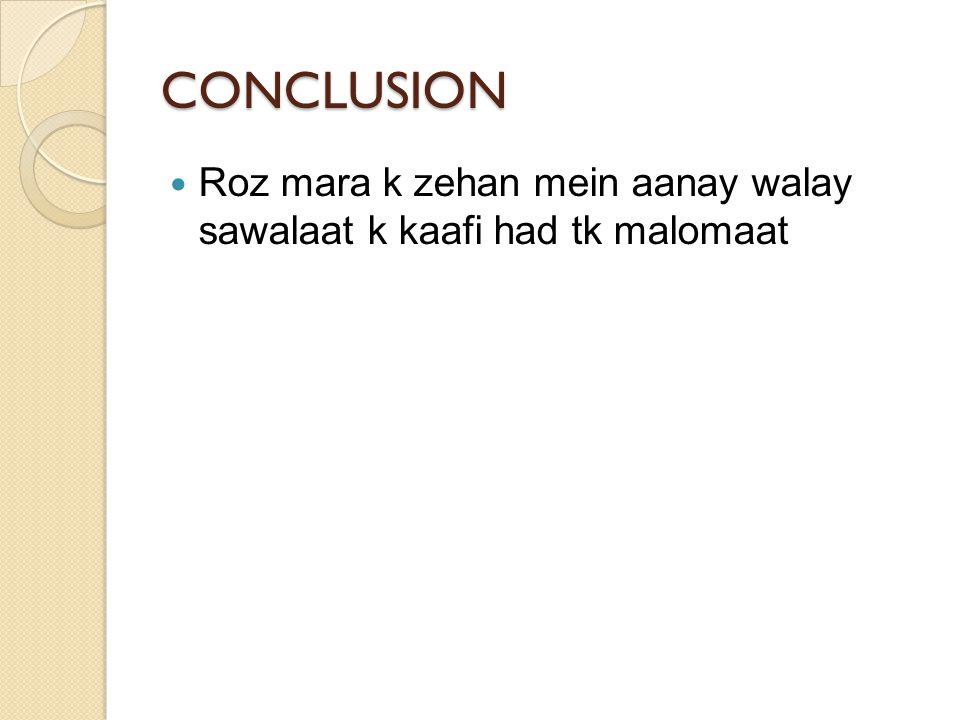 CONCLUSION Roz mara k zehan mein aanay walay sawalaat k kaafi had tk malomaat