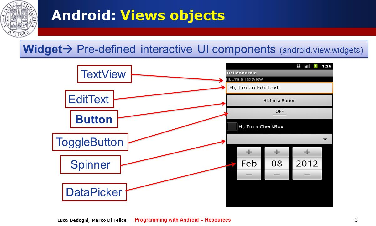 Luca Bedogni, Marco Di Felice - Programming with Android – Resources 6 Android: Views objects Widget  Pre-defined interactive UI components (android.view.widgets) TextView EditText Button ToggleButton Spinner DataPicker