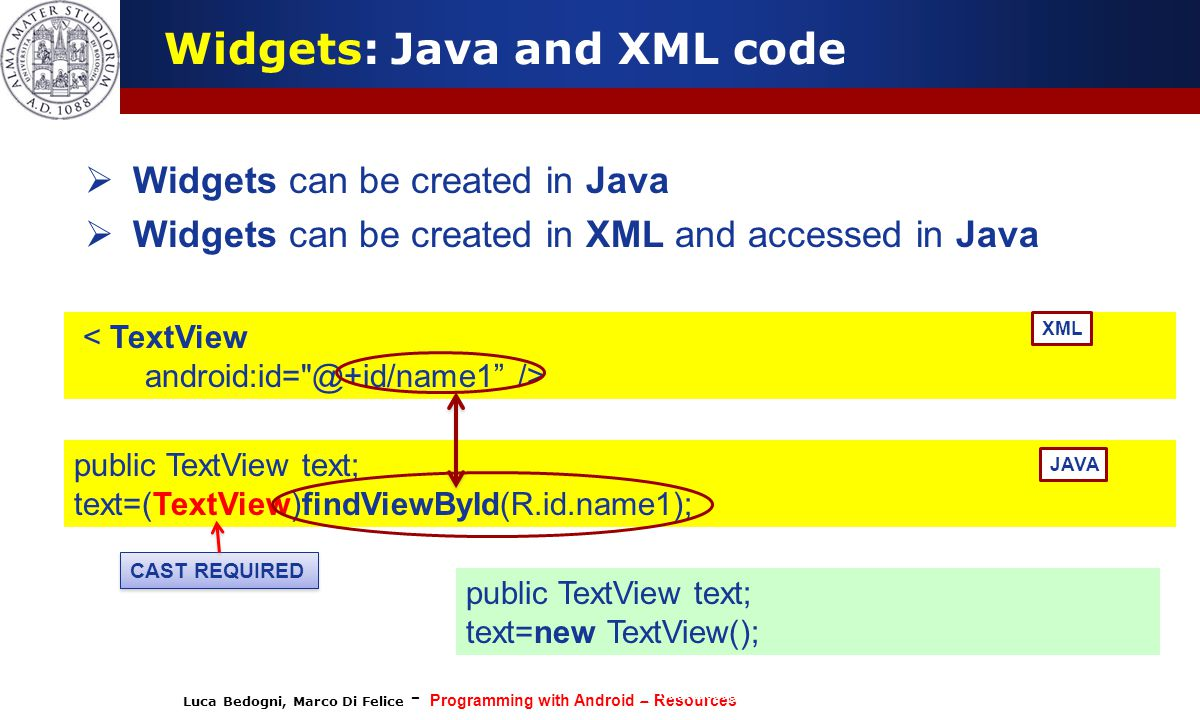 Luca Bedogni, Marco Di Felice - Programming with Android – Resources (c) Luca Bedogni 2012 8  Widgets can be created in Java  Widgets can be created in XML and accessed in Java Widgets: Java and XML code < TextView android:id= @+id/name1 /> public TextView text; text=(TextView)findViewById(R.id.name1); JAVA XML CAST REQUIRED public TextView text; text=new TextView();