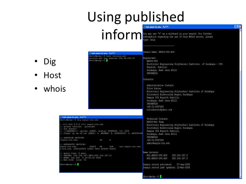 Using published information Dig Host whois