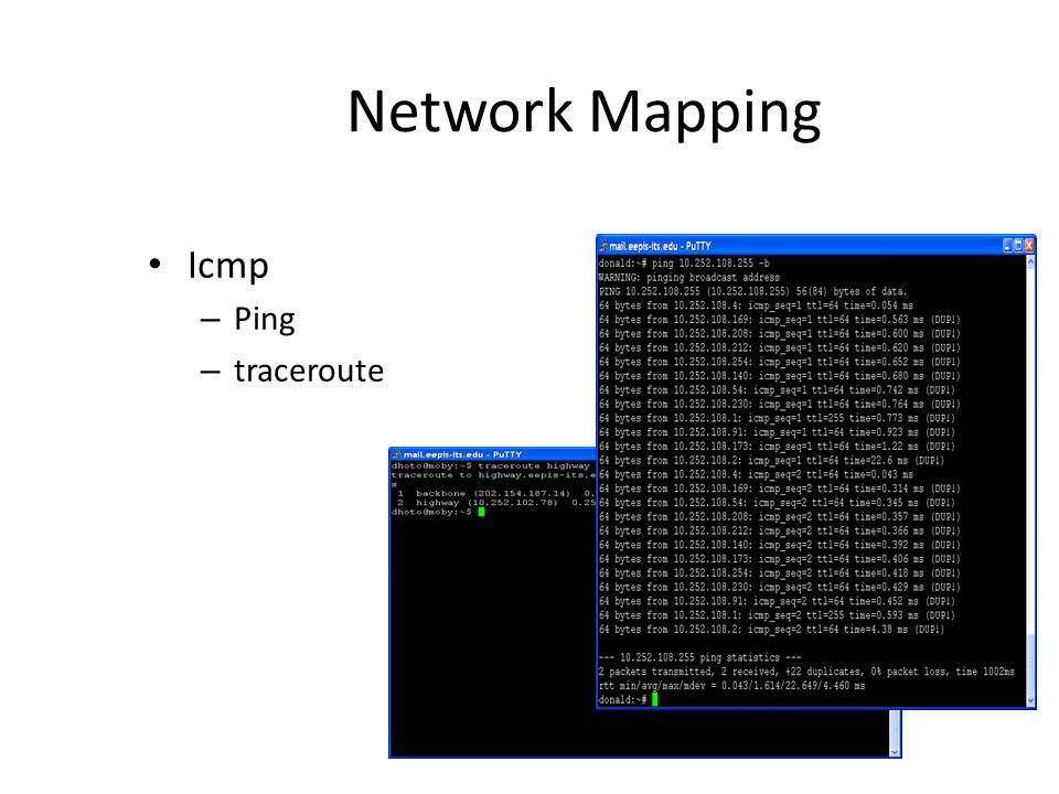 Network Mapping Icmp – Ping – traceroute