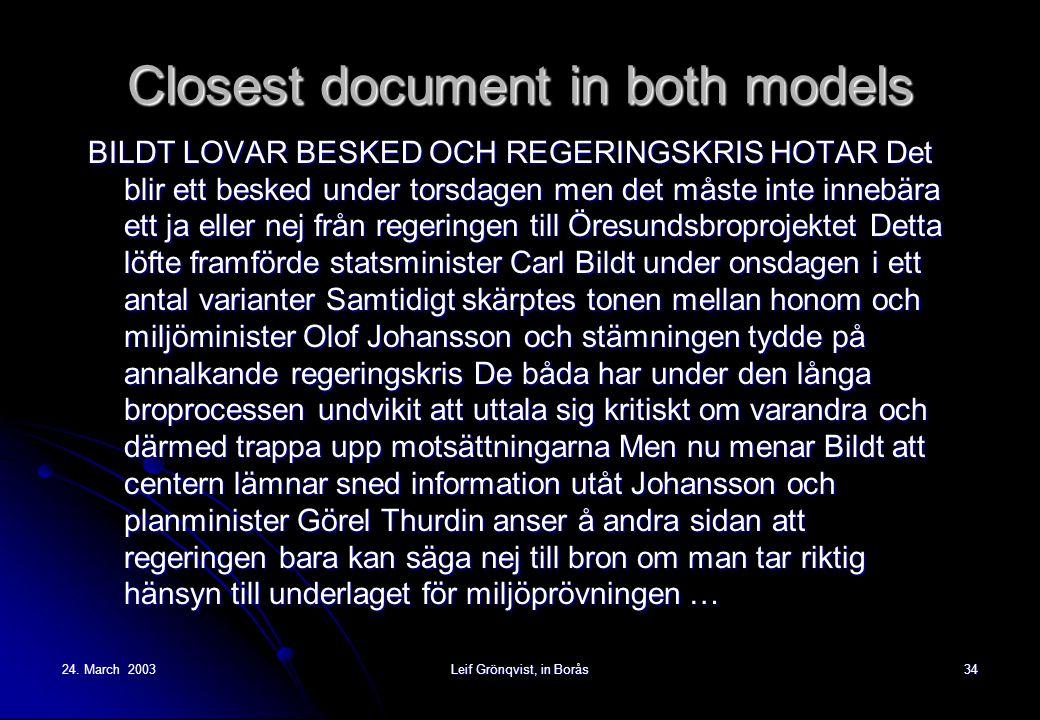24. March 2003Leif Grönqvist, in Borås34 Closest document in both models BILDT LOVAR BESKED OCH REGERINGSKRIS HOTAR Det blir ett besked under torsdage
