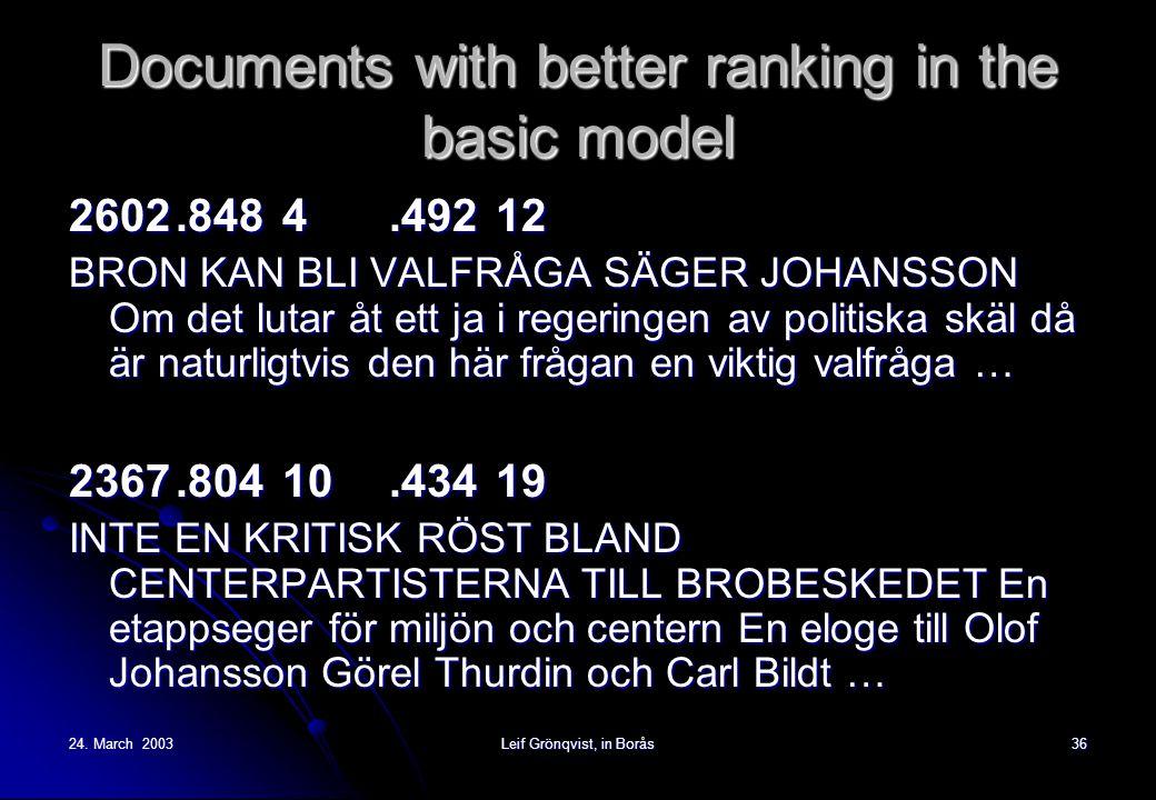 24. March 2003Leif Grönqvist, in Borås36 Documents with better ranking in the basic model 2602.8484.49212 BRON KAN BLI VALFRÅGA SÄGER JOHANSSON Om det