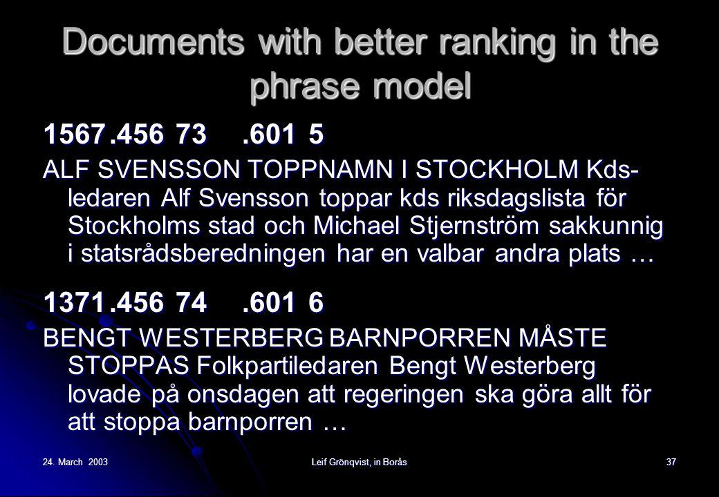 24. March 2003Leif Grönqvist, in Borås37 Documents with better ranking in the phrase model 1567.45673.6015 ALF SVENSSON TOPPNAMN I STOCKHOLM Kds- leda