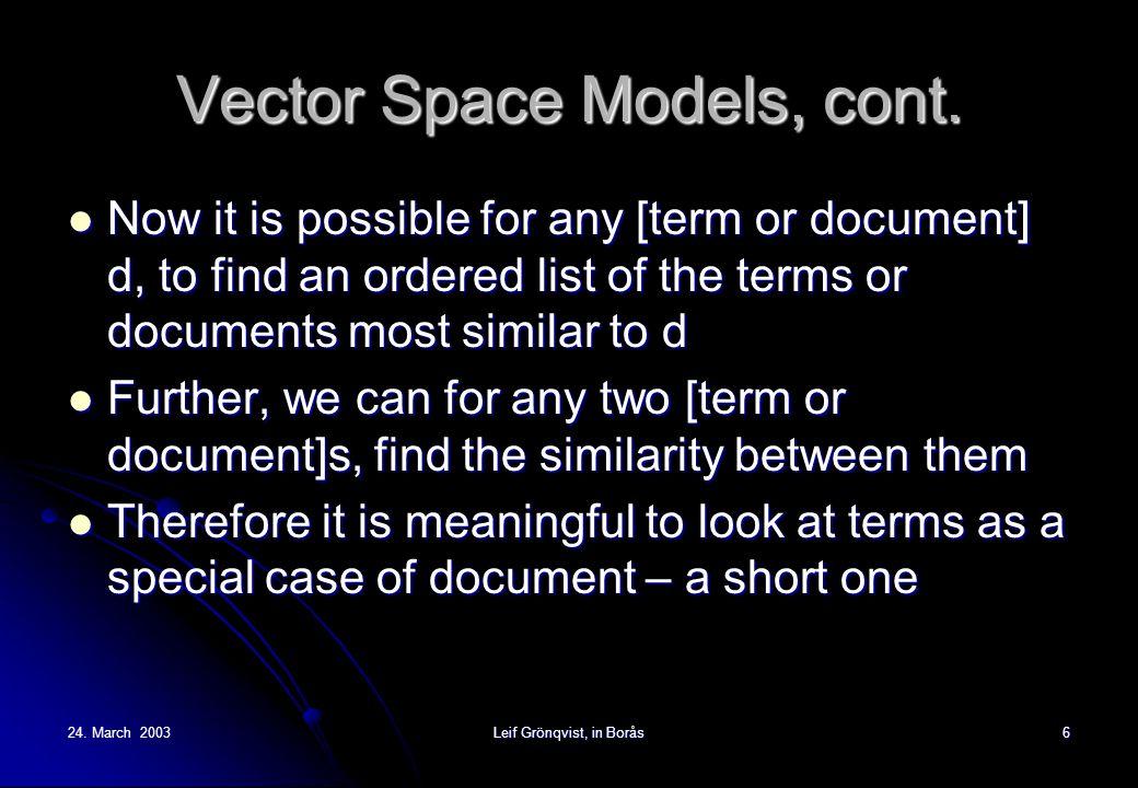 24.March 2003Leif Grönqvist, in Borås6 Vector Space Models, cont.