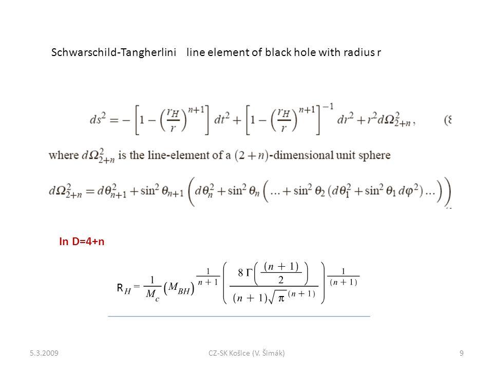 Schwarschild-Tangherlini line element of black hole with radius r In D=4+n R 5.3.20099CZ-SK Košice (V.
