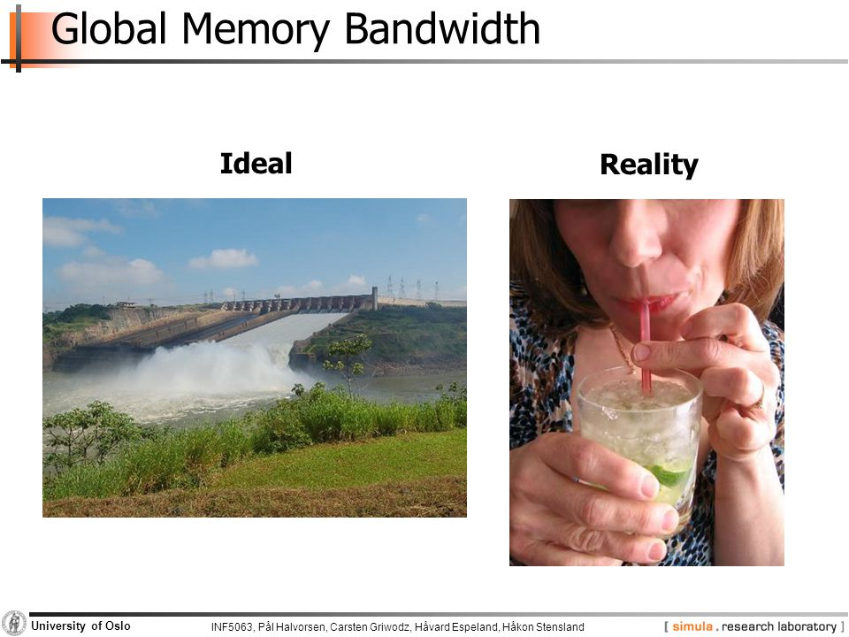 INF5063, Pål Halvorsen, Carsten Griwodz, Håvard Espeland, Håkon Stensland University of Oslo Global Memory Bandwidth Ideal Reality