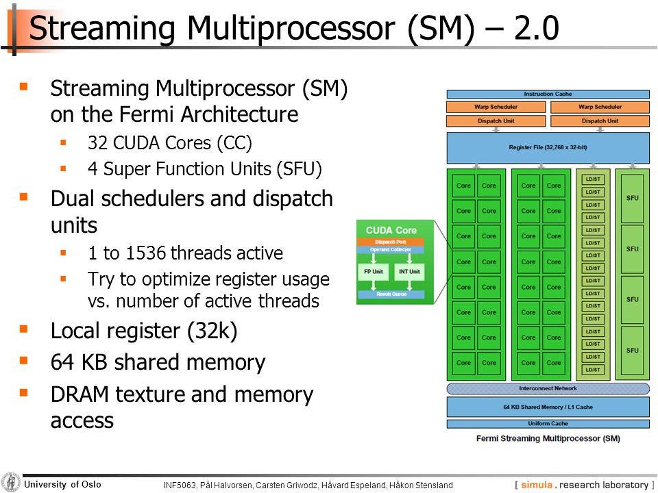 INF5063, Pål Halvorsen, Carsten Griwodz, Håvard Espeland, Håkon Stensland University of Oslo Streaming Multiprocessor (SM) – 2.0  Streaming Multiprocessor (SM) on the Fermi Architecture  32 CUDA Cores (CC)  4 Super Function Units (SFU)  Dual schedulers and dispatch units  1 to 1536 threads active  Try to optimize register usage vs.