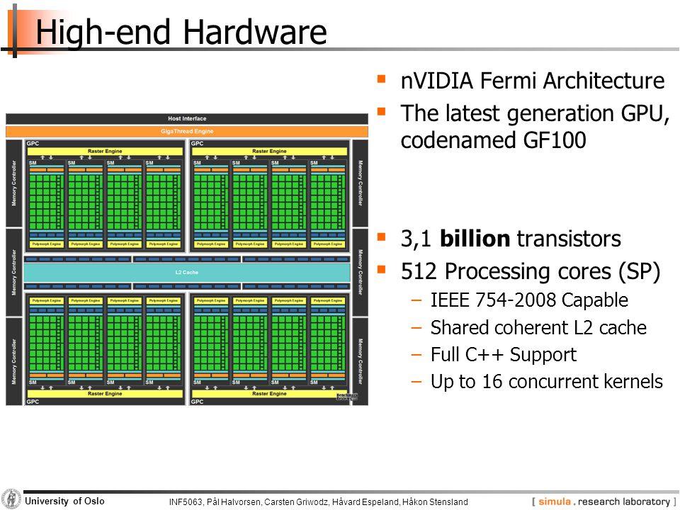 INF5063, Pål Halvorsen, Carsten Griwodz, Håvard Espeland, Håkon Stensland University of Oslo Lab Hardware  nVidia GeForce GTX 280  Based on the GT200 chip −1400 million transistors −240 Processing cores (SP) at 1476MHz −1024 MB Memory with 159 GB/sec bandwidth  nVidia GeForce 8800GT  Based on the G92 chip −754 million transistors −112 Processing cores (SP) at 1500MHz −256 MB Memory with 57.6GB/sec bandwidth