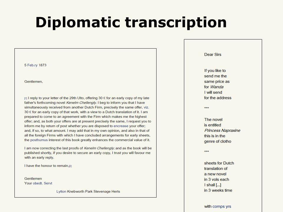 Diplomatic transcription