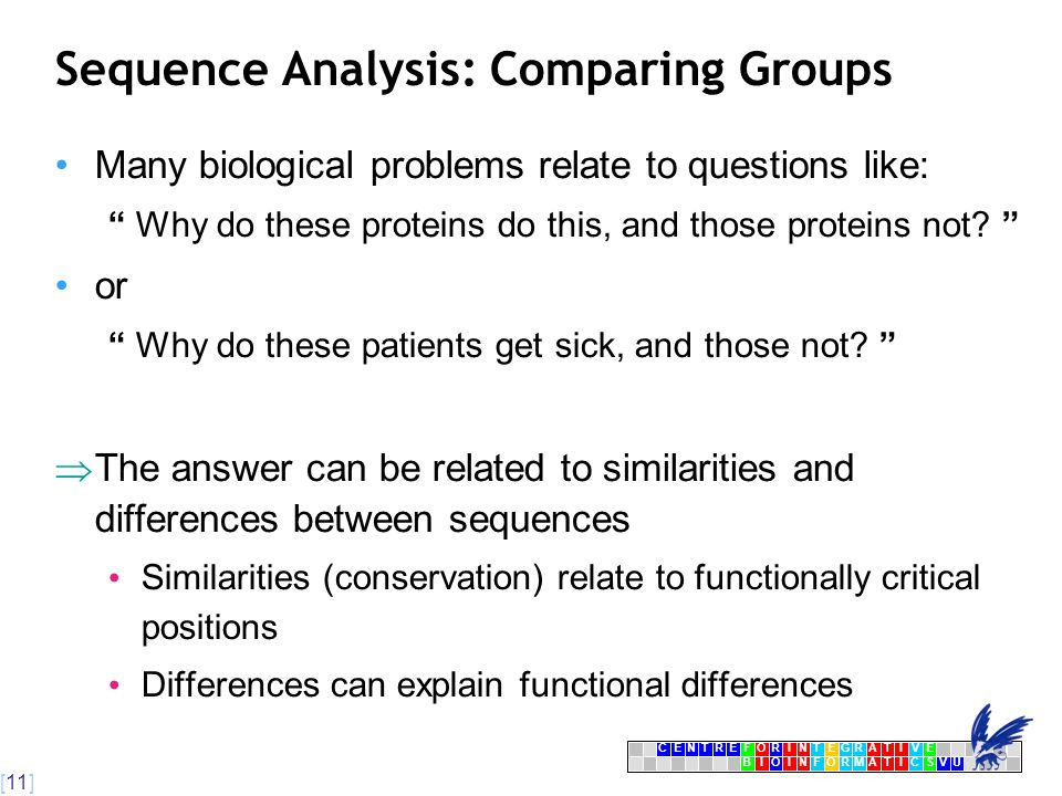 [11] CENTRFORINTEGRATIVE BIOINFORMATICSVU E Sequence Analysis: Comparing Groups Many biological problems relate to questions like: Why do these proteins do this, and those proteins not.