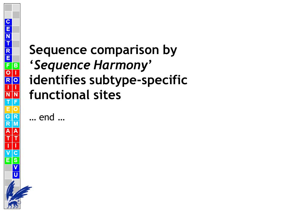 C E N T R F O R I N T E G R A T I V E B I O I N F O R M A T I C S V U E Sequence comparison by 'Sequence Harmony' identifies subtype-specific functional sites … end …