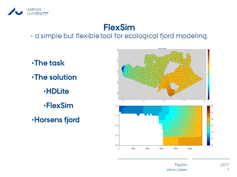 AARHUS UNIVERSITET FlexSim Janus Larsen 2011 1 The task The solution HDLite FlexSim Horsens fjord FlexSim - a simple but flexible tool for ecological fjord modeling.