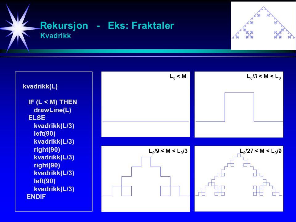 Rekursjon - Eks: Fraktaler Kvadrikk kvadrikk(L) IF (L < M) THEN drawLine(L) ELSE kvadrikk(L/3) left(90) kvadrikk(L/3) right(90) kvadrikk(L/3) right(90) kvadrikk(L/3) left(90) kvadrikk(L/3) ENDIF L 0 < ML 0 /3 < M < L 0 L 0 /9 < M < L 0 /3L 0 /27 < M < L 0 /9