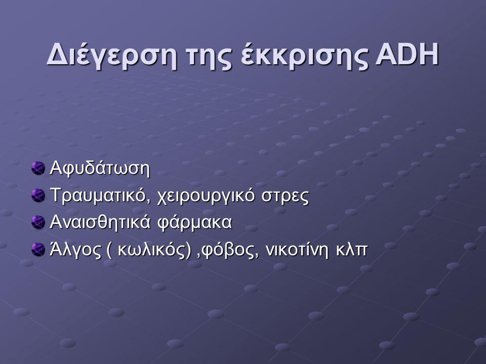 Διέγερση της έκκρισης ADH Αφυδάτωση Τραυματικό, χειρουργικό στρες Αναισθητικά φάρμακα Άλγος ( κωλικός),φόβος, νικοτίνη κλπ