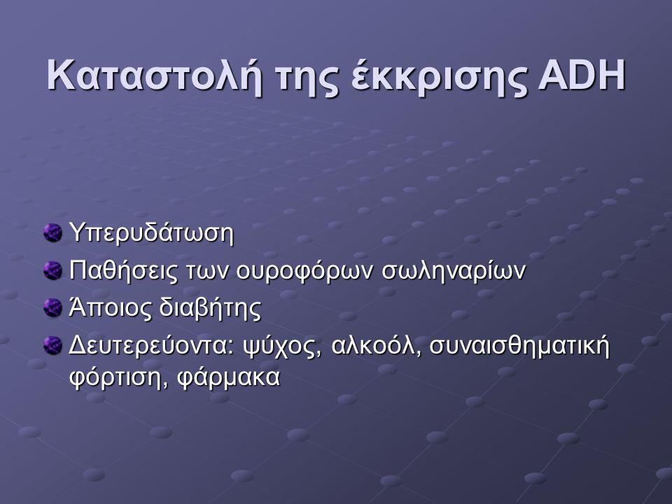 Καταστολή της έκκρισης ADH Υπερυδάτωση Παθήσεις των ουροφόρων σωληναρίων Άποιος διαβήτης Δευτερεύοντα: ψύχος, αλκοόλ, συναισθηματική φόρτιση, φάρμακα