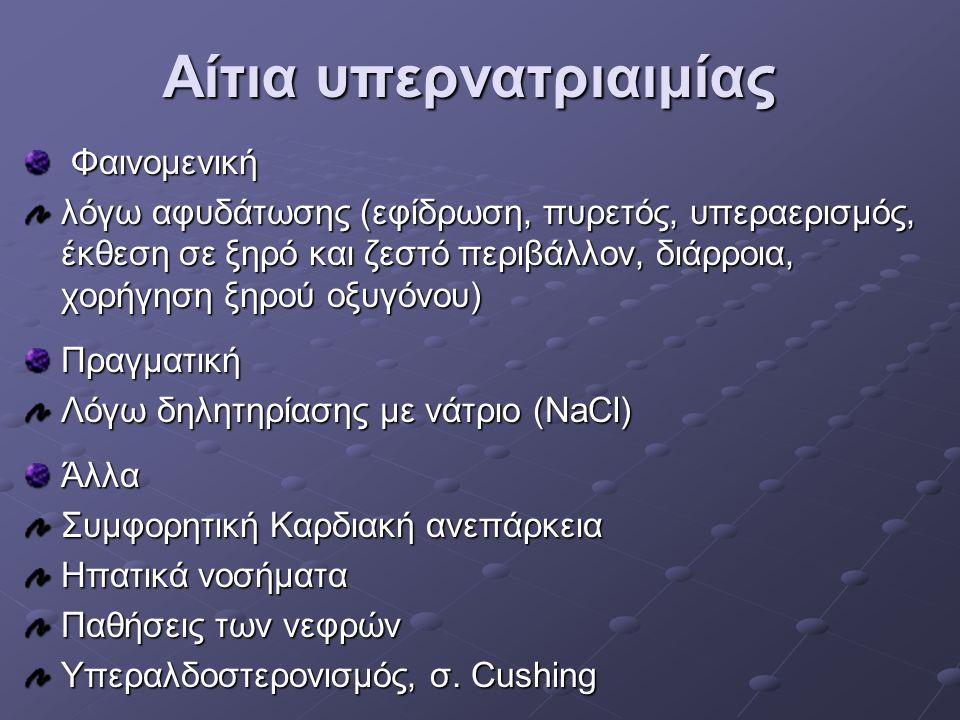 Αίτια υπερνατριαιμίας Φαινομενική Φαινομενική λόγω αφυδάτωσης (εφίδρωση, πυρετός, υπεραερισμός, έκθεση σε ξηρό και ζεστό περιβάλλον, διάρροια, χορήγησ