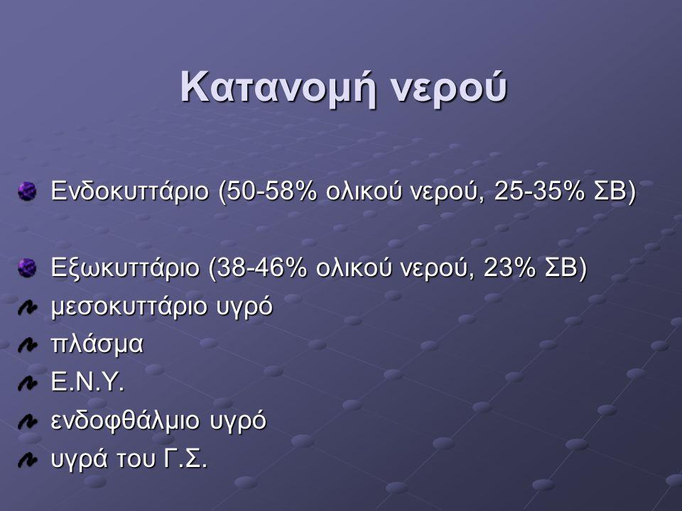 Κατανομή νερού Ενδοκυττάριο (50-58% ολικού νερού, 25-35% ΣΒ) Ενδοκυττάριο (50-58% ολικού νερού, 25-35% ΣΒ) Εξωκυττάριο (38-46% ολικού νερού, 23% ΣΒ) Ε